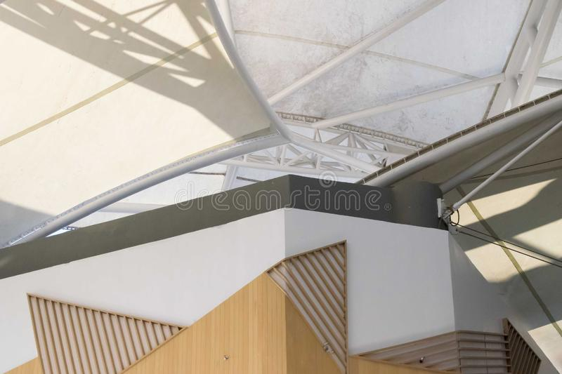 White fabric tensile roof, canvas roof and steel structure stock images