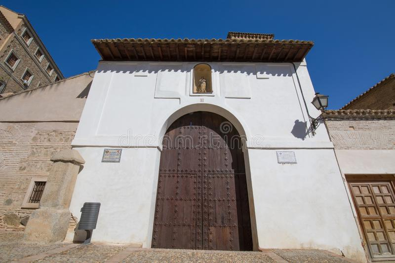 Facade of ancient building in Toledo city stock images