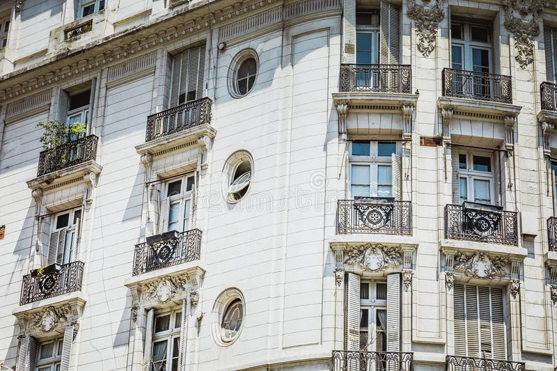White facade of historic building in Buenos Aires, Argentina. royalty free stock photos
