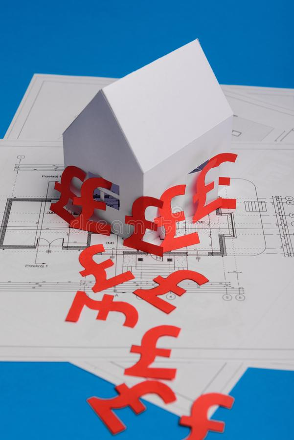 White family paper house , british pound money symbol , house projects plan and blueprints on mint background paper. Minimalistic. And simple concept, style royalty free stock photo
