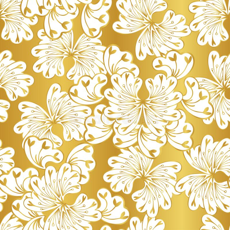 White fantasy flowers on a gold background vector illustration