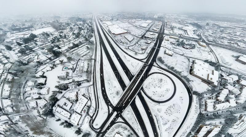 The White Fantasy. An image converted from the 360 by 180 aerial view of city covered by snow royalty free stock images