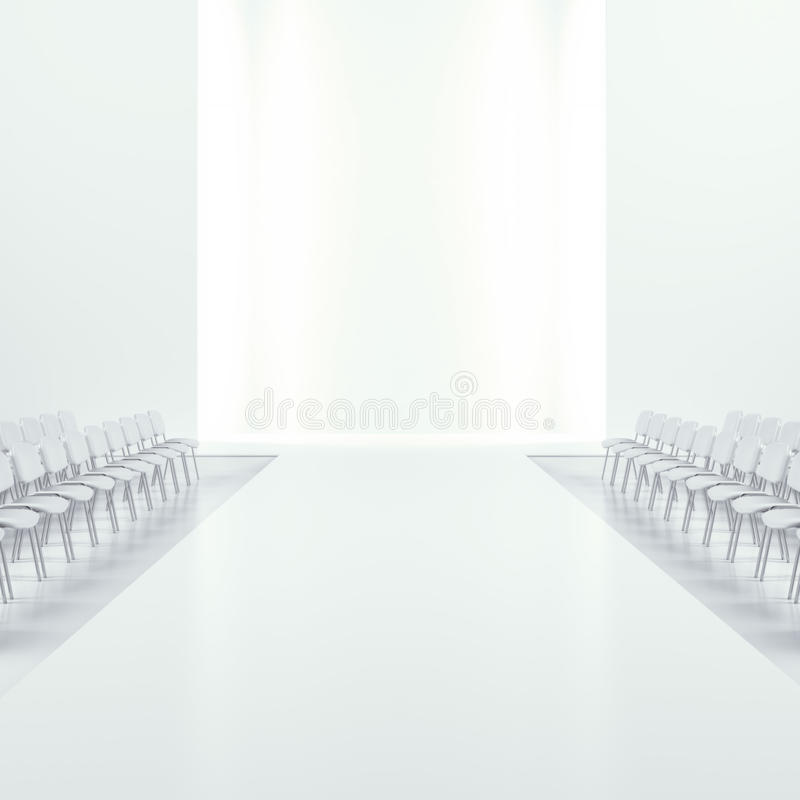 White fashion empty runway. Isolated on a white background. 3d render royalty free illustration