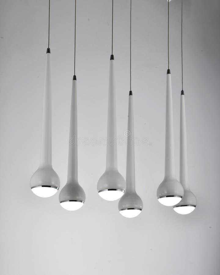 White fashionable crystal led chandelier lighting stock images