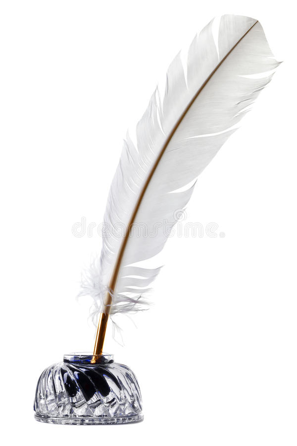 White feather quill pen and inkwell isolated royalty free stock image