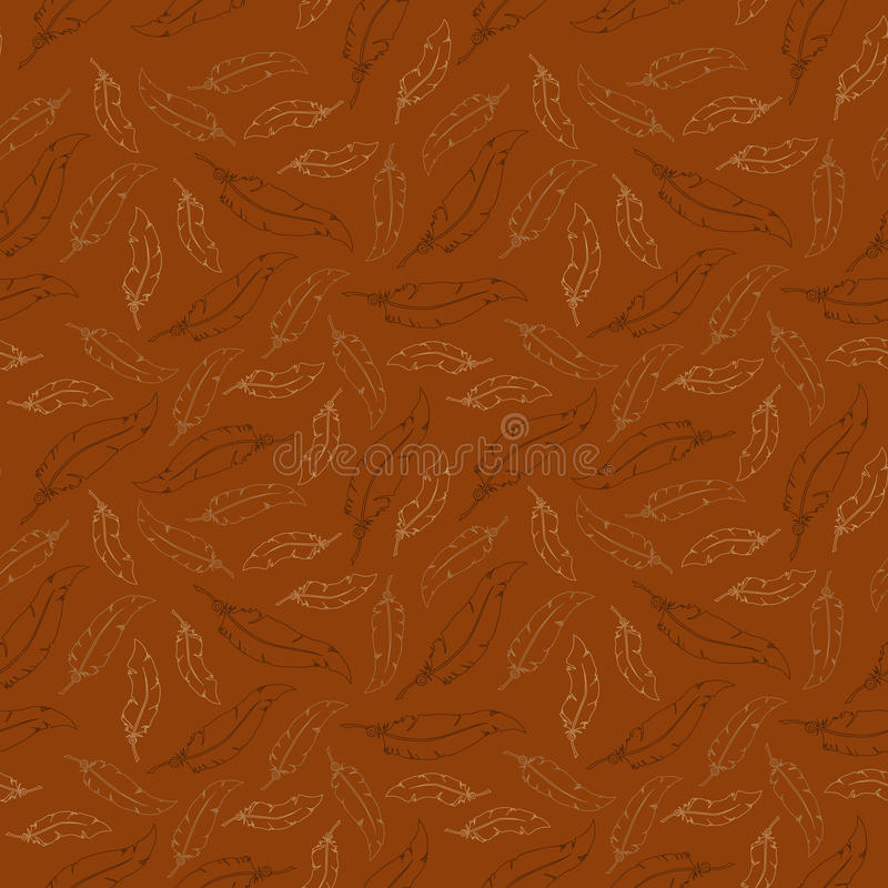 White feathers on brown background. Seamless vector pattern. Elegant white feathers on brown background. Seamless vector pattern vector illustration