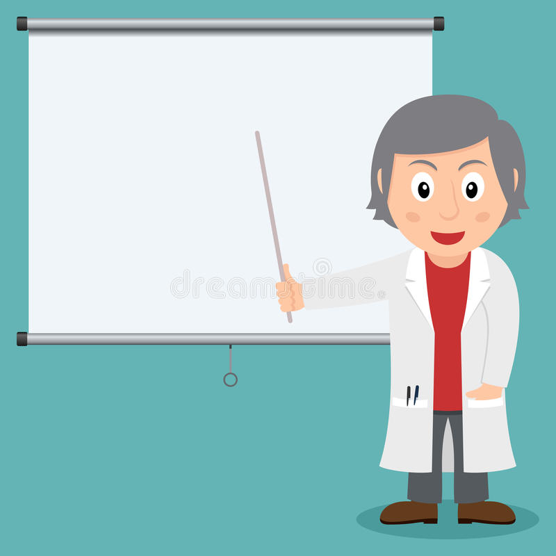 White Female Doctor with Pointing Stick stock illustration