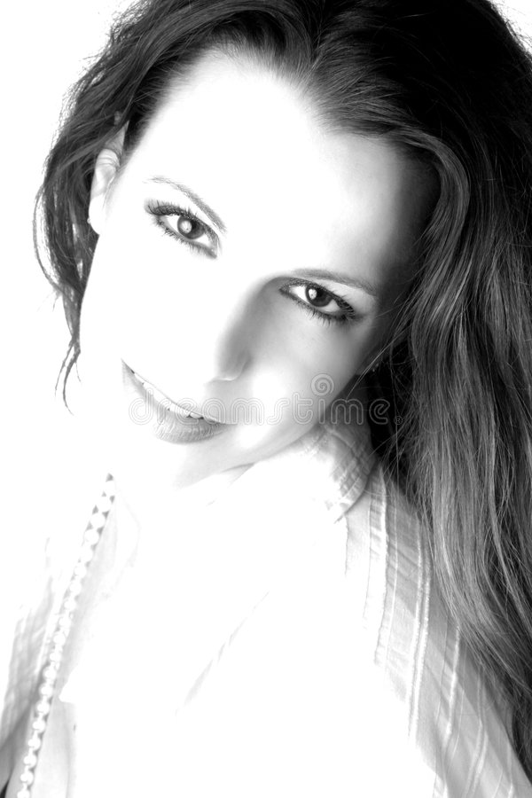 White Female with Pearls - High Contrast