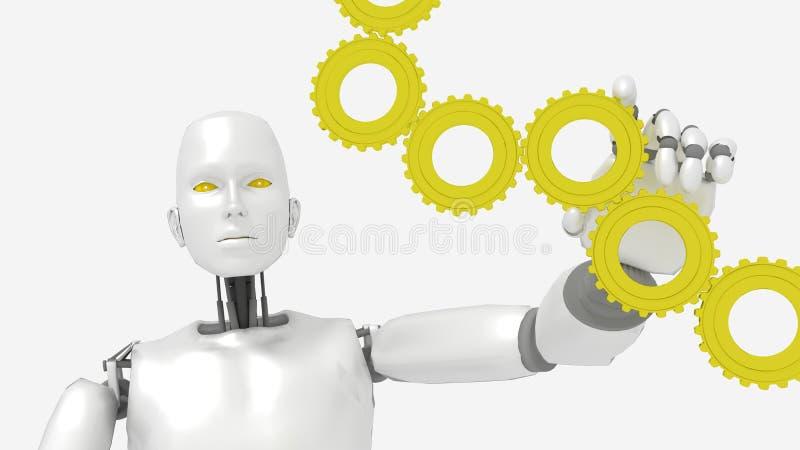 White female robot turning golden gears vector illustration