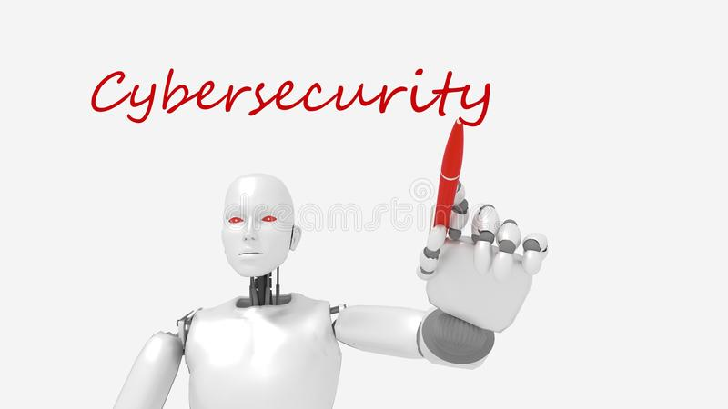 White female robot writes the word cybersecurity stock illustration