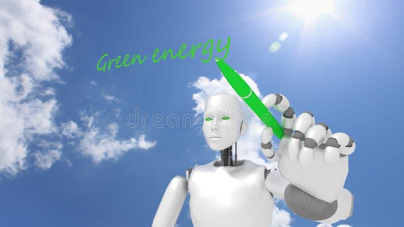 White female robot writes the word green energy stock illustration