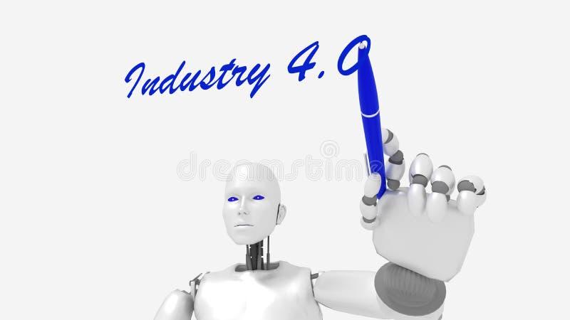 White female robot writes the word industry 4.0 stock illustration