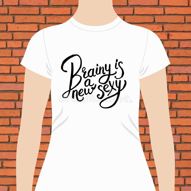 White Female Shirt with Brainy is a New Texts vector illustration