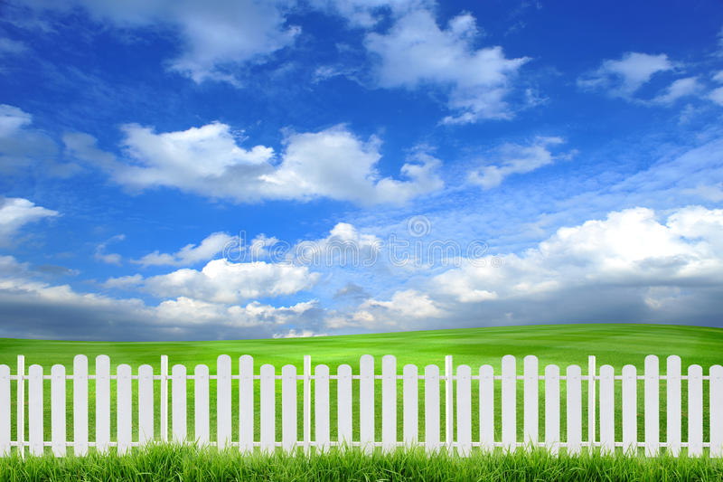 White fence. With grass and sky stock photo