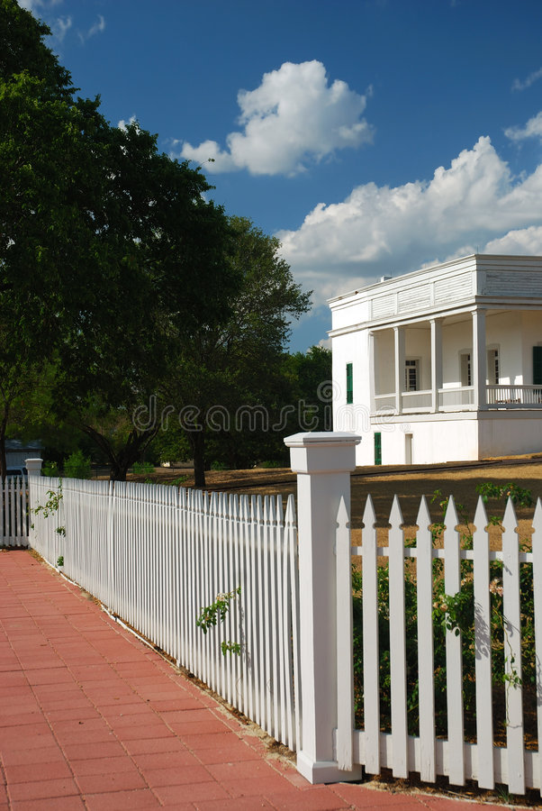 Download White fence and house stock image. Image of private, summertime - 5810001