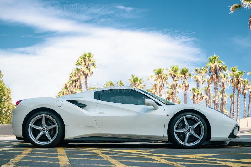 White Ferrari 488 Spider. BARCELONA, SPAIN-AUGUST 14, 2019: White Ferrari 488 Spider at city streets stock photo