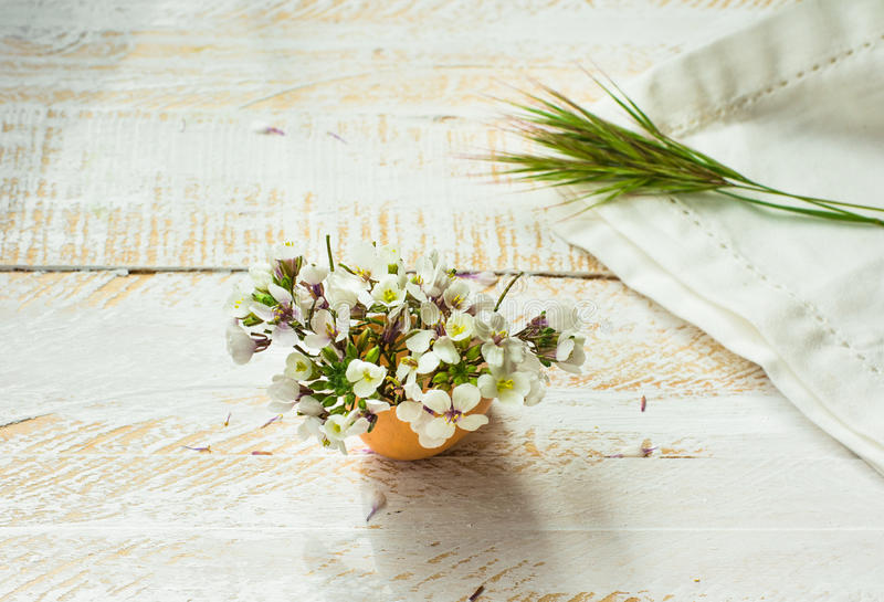 White field flowers in eggshell, napkin, green grass twig on wood surface in soft morning sunlight, Easter decoration. Mother`s day, greeting card template stock image