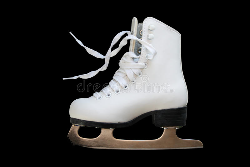 White figure skate. Isolated on black royalty free stock images