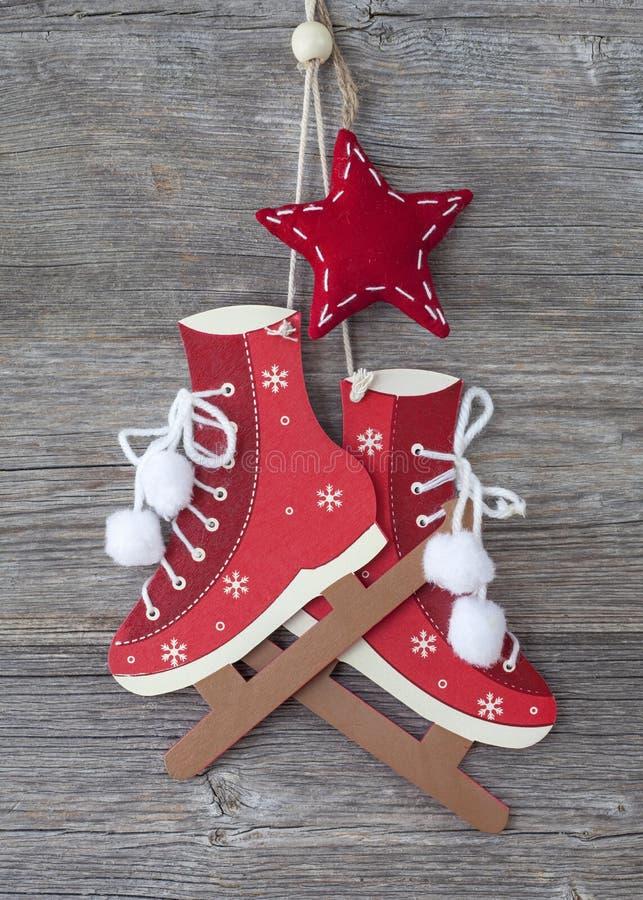 White figure skates decoration stock image