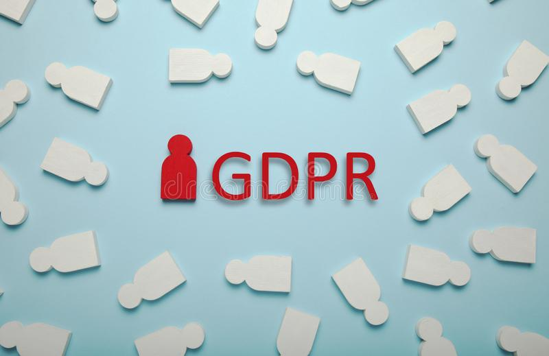 White figures of people and the inscription GDPR. General Data Protection Regulation.  royalty free stock photos