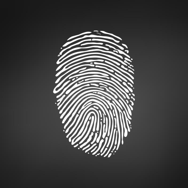 White Fingerprint icon on modern black background. Vector illustration. stock illustration