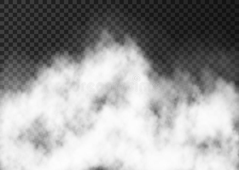 White fire smoke or fog isolated on transparent background. Steam special effect. Realistic vector mist texture royalty free illustration