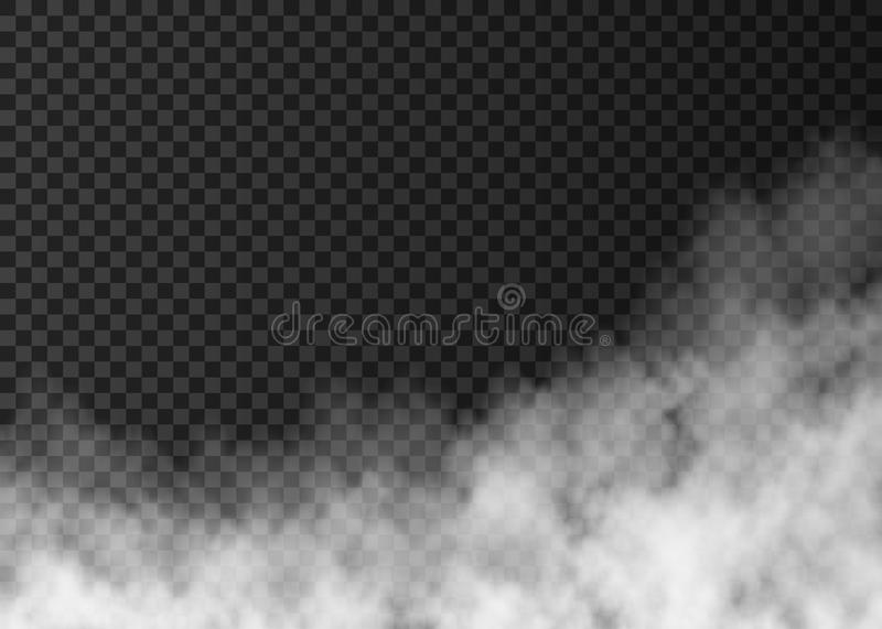White fire smoke isolated on transparent background. Steam special effect. Realistic vector fog or mist texture royalty free illustration