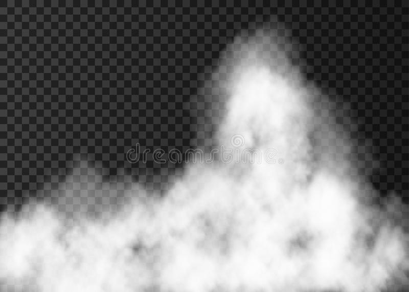 White fire smoke on transparent background. Steam special effect. Realistic vector fog or mist texture stock illustration