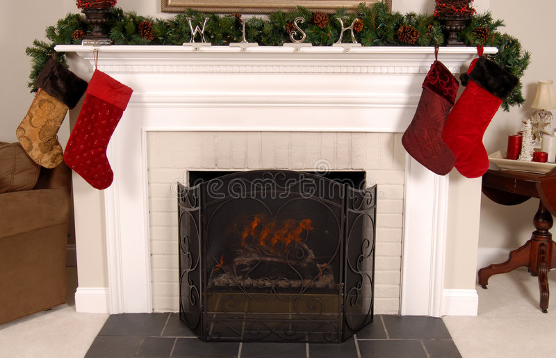 Download White Fireplace Decorated For Christmas Stock Image - Image of merry, festive: 1686973