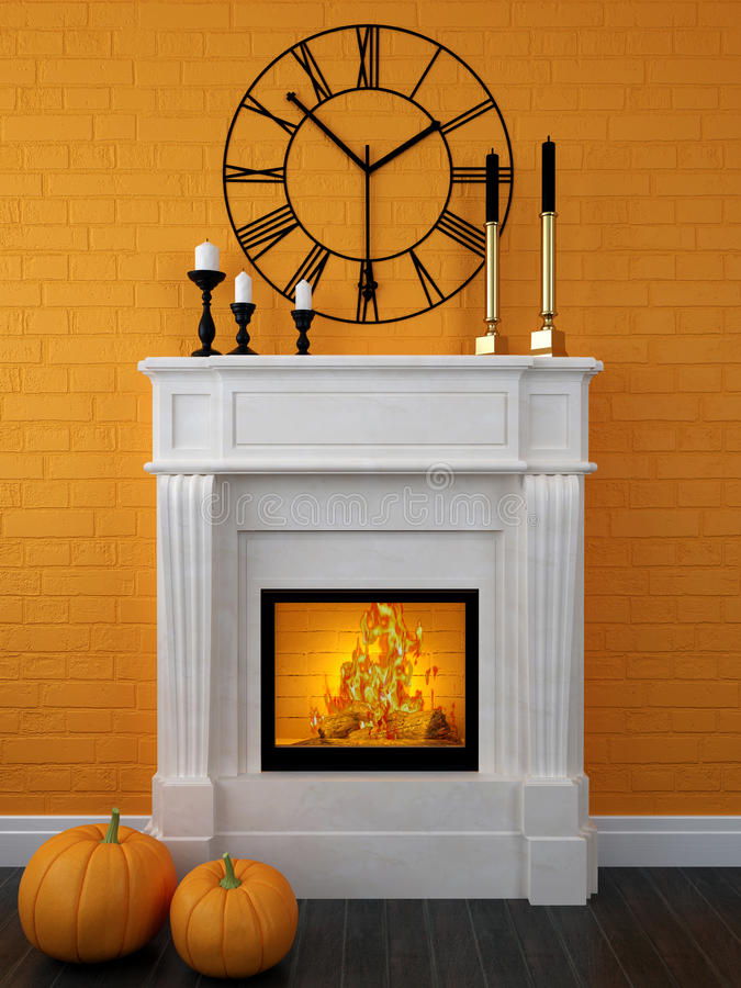 download white fireplace decorated for halloween stock photo image