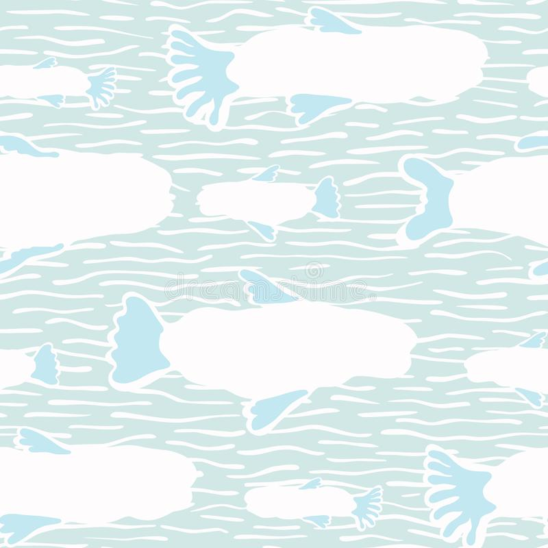 White Fish Silhouette, Seamless Seaweed Animal Vector Pattern Background. Nautical Drawn Illustration for Summer Scrapbooking, Gift Wrap, Kids Fashion Prints royalty free illustration