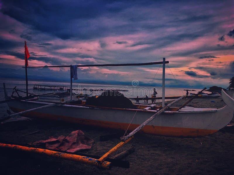 White Fishing Boat during Dawn royalty free stock photo