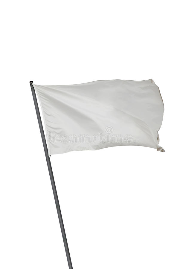 White flag isolated. White flag waving on the wind. Isolated over white. Put your own text royalty free stock image
