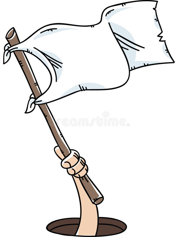 White Flag Surrender. A cartoon hand holds and waves a white flag of surrender stock illustration