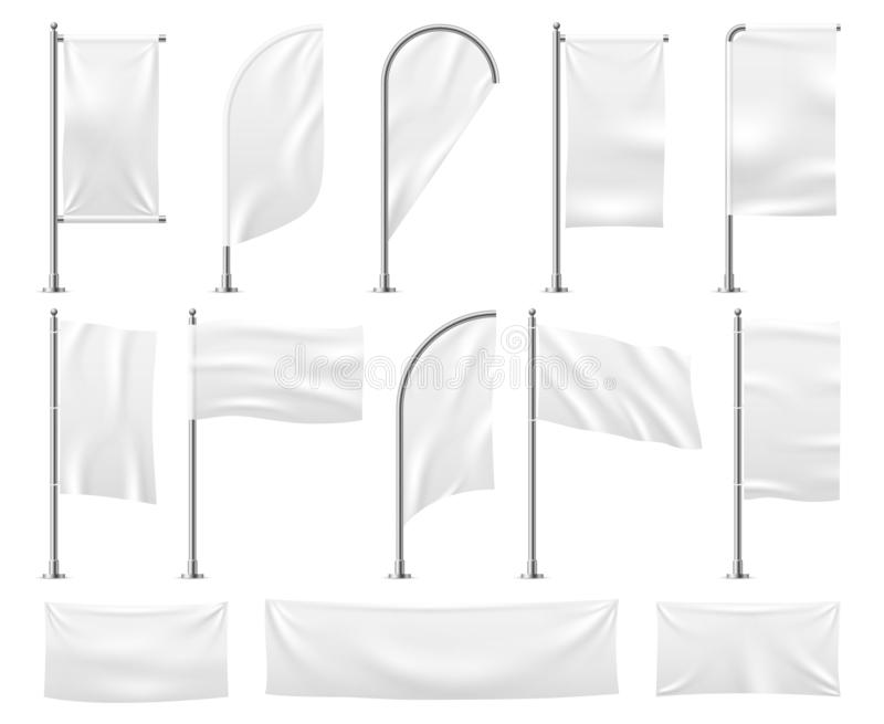 White flags set. Blank banner mockup empty waving fabric canvas poster pennant beach advertising flag vector template. White flags set. Blank banner mockup empty vector illustration