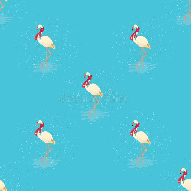 White flamingo seamless pattern on blue background royalty free illustration