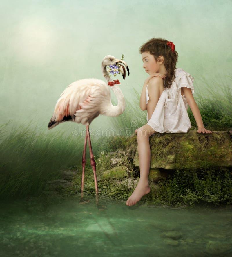 White flamingos stock illustration