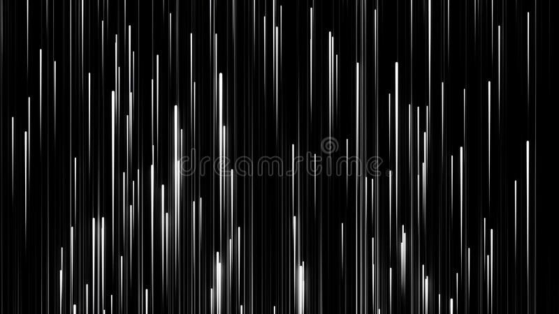White flashing narrow neon lines in downward fast movement on black background, seamless loop. Animation. Breathtaking royalty free illustration