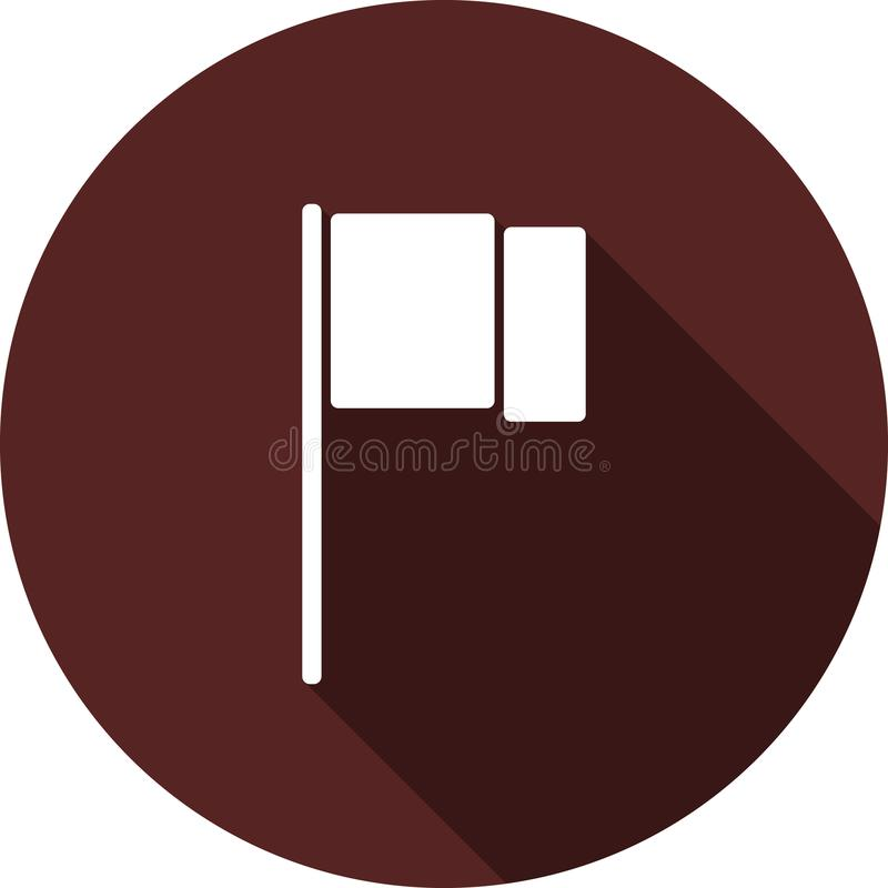 The evolving icon of the flag. White flat icon with a long shadow on a circle of Burgundy color. White flat icon with a long shadow on a circle of Burgundy color vector illustration