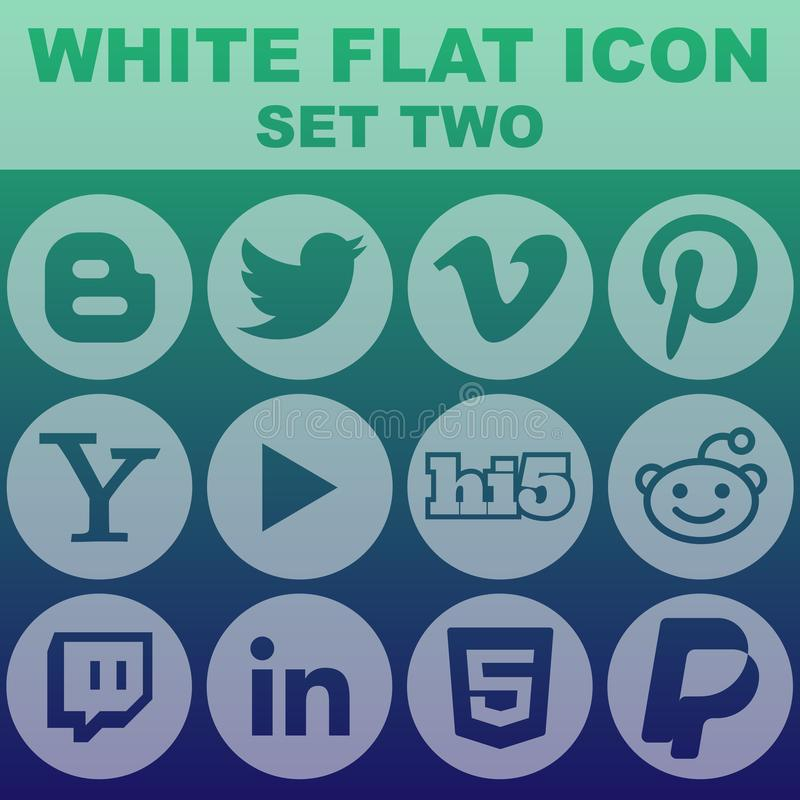 Download White Flat Icon Set Two Vector Image Stock Vector - Illustration of white, clock: 107796154