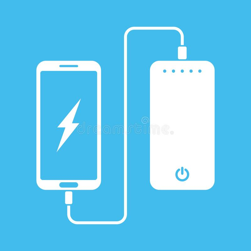 white flat minimal icon of phone charging from portable battery or powerbank on blue background stock illustration