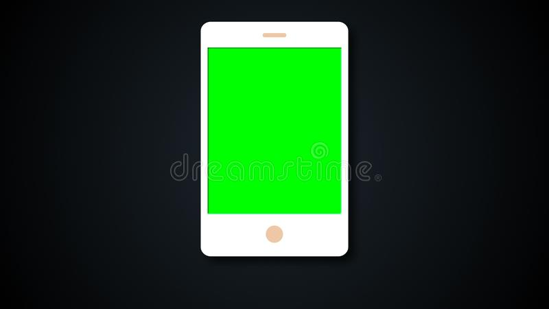 White flat phone white screen with chroma key, modern smartphone design, 3d rendering background. stock illustration