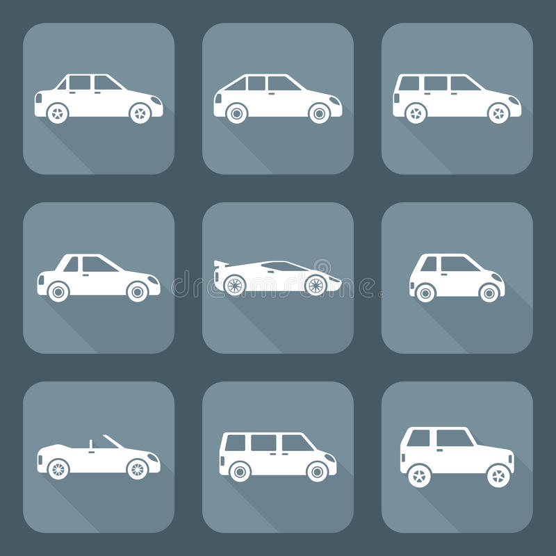 White flat style various body types of cars icons collection stock illustration