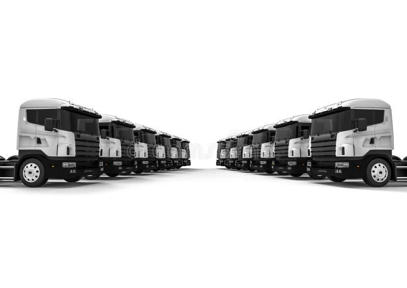 White fleet of white trucks royalty free illustration