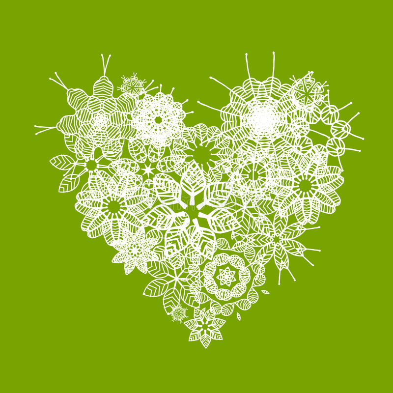 White floral heart shape for your design royalty free illustration
