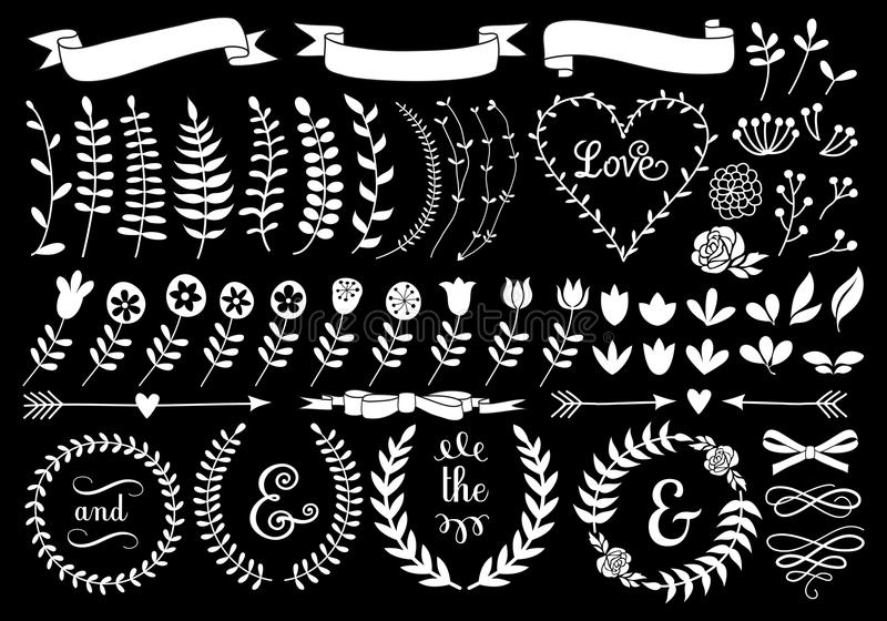 White floral laurel wreath, vector set vector illustration
