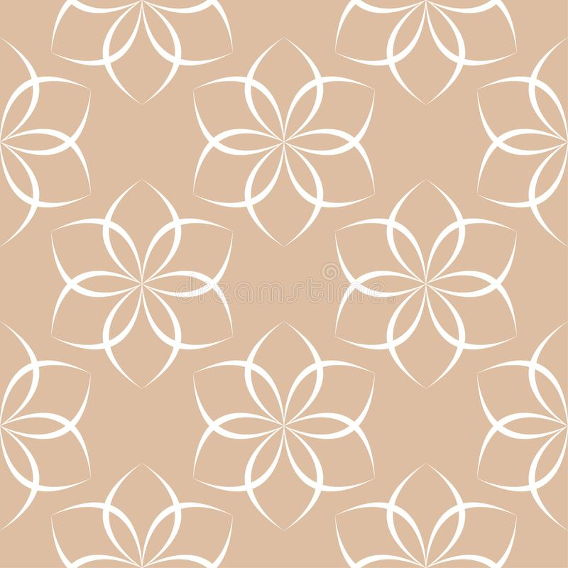 White floral ornament on beige background. Seamless pattern stock illustration