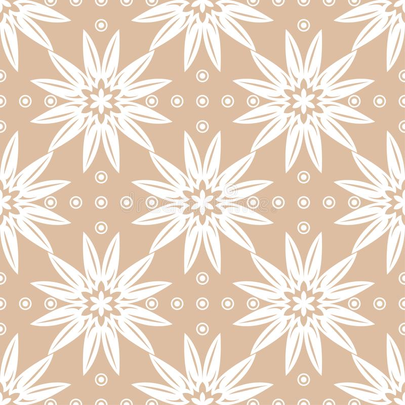 White floral ornament on beige background. Seamless pattern royalty free illustration
