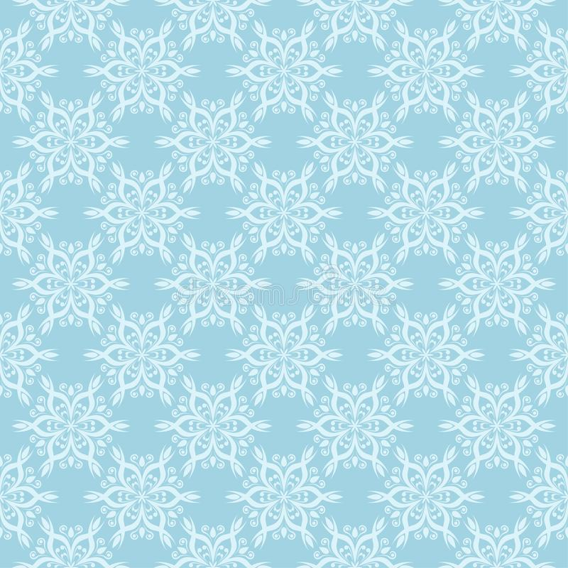 White floral ornament on blue. Seamless pattern stock illustration