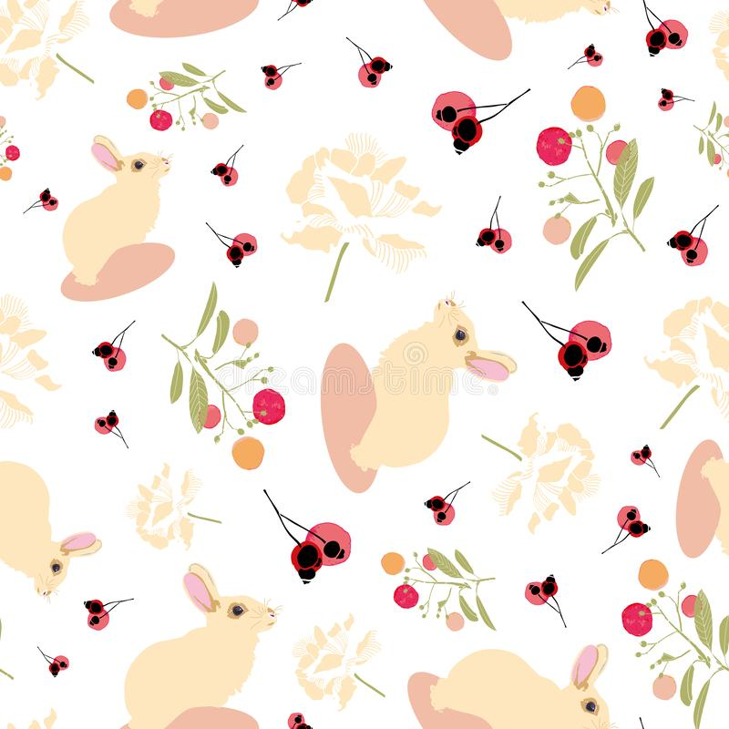 White floral pattern with rabbit, flower and bud. royalty free illustration